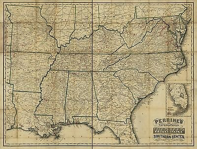 12x18 inch Reprint of American Military Map Southern States