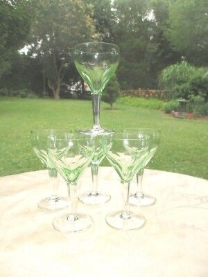 Gevaert Val St Lambert 6 Wine Glasses Lime Ice Green Cut To Clear Stems