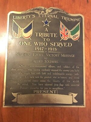 Antique WWI Libertys Eternal Triumph Marshal Foch's Victory Message Plaque 1918