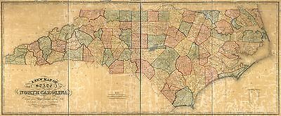 12x18 inch Reprint of American Cities Towns States Map North Carolina