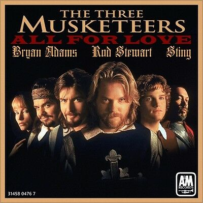 """7"""" BRYAN ADAMS ROD STEWART STING All For Love OST Three Musketeers A&M USA 1993"""