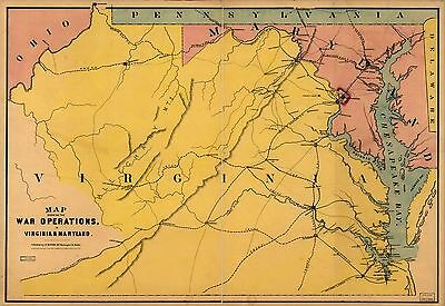 12x18 inch Reprint of American Military Map Maryland Virginia