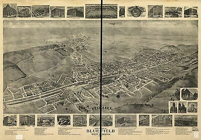 12x18 inch Reprint of American Cities Towns States Map Bluefield West Virginia