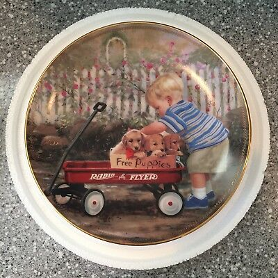 Zolan PUPPY LOVE Boy with Golden Retriever Puppies Radio Flyer Collector Plate