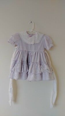 Vintage Martha's Minatures Lavender Baby Toddler Girl Ruffle Lace Dress 3T
