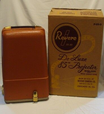 Working Vintage Revere Model 85 Deluxe 8Mm Projector With Case & Original Box