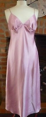Vintage Style Marks & Spencer Pink Slithery Liquid Satin Nightdress Size 14