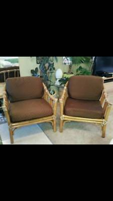 2 McGuire of San Francisco Vintage Bamboo Lounge Armchairs Original Webbing