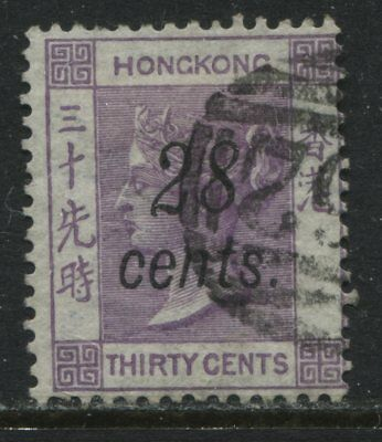Hong Kong QV 1876 28 cents on 30 cents violet used
