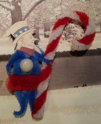 UNCLE SAM PATRIOTIC AMERICANA Vintage Style Chenille Christmas Ornament OOAK
