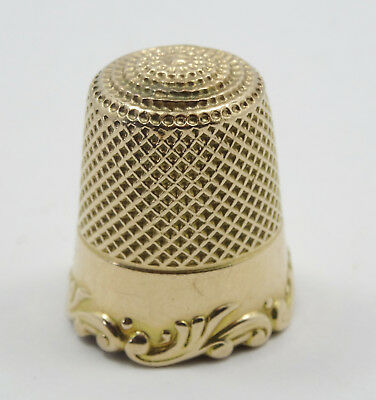 ANTIQUE VICTORIAN 14K SOLID YELLOW GOLD THIMBLE WITH MONOGRAM SIZE 9 - 5.2g 20mm