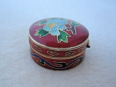 Vintage Red Enamel Floral Cloisonne Pill Snuff Tooth Fairy Trinket Hinged Box
