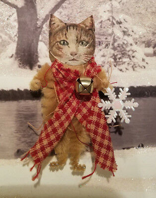 TABBY CAT with her SNOWFLAKE Vintage Style Chenille Christmas Ornament OOAK