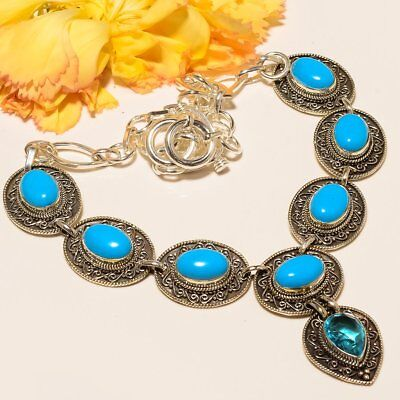 Egyptian Sleeping Beauty Turquoise Vintage Style 925 Sterling Silver Necklace