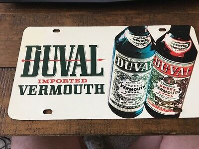 Vintage & Rare Duval Imported Vermouth Metal License Plate Sign-Free Shipping