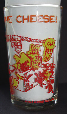 Yosemite Sam Speedy Gonzales Snaps Cheese Vtg Welchs Jelly Glass 1974 Red Yellow