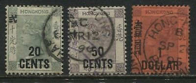 Hong Kong QV 1891 stamps overprinted 20 cents, 50 cents, & $1 used
