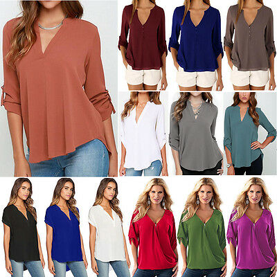 Plus Size Women Casual V Neck Chiffon Blouse Summer Loose Tops Tee Baggy T-shirt