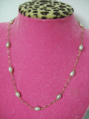 "Vintage 14K Gold Filled Chain Links with Real Pearls 20"" Necklace"