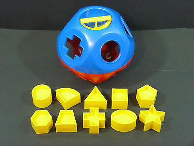 Tuppertoys Red & Blue SHAPE-O BALL Sorter w/ 10 Shapes Tupperware Toy COMPLETE!
