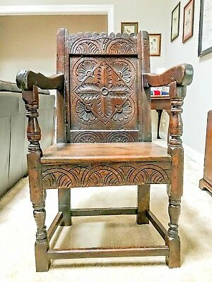 Antique 17th Century Charles I Oak Wainscot Chair -- Shipping Available