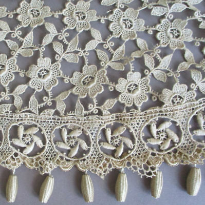 """Antique Ecru FRENCH Embroidered Floral LACE Trim w BOBBLES 4"""" Wide X 33"""" * DOLLS"""