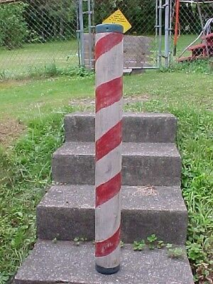 """Vintage WOODEN BARBER POLE w Old PAINTED Surface 40"""""""