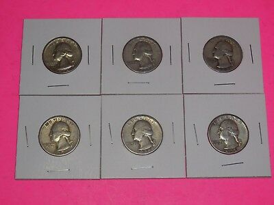 Lot of Six (6) 90% Silver Junk Drawer coin Washington Quarters Money Hoarder #AF