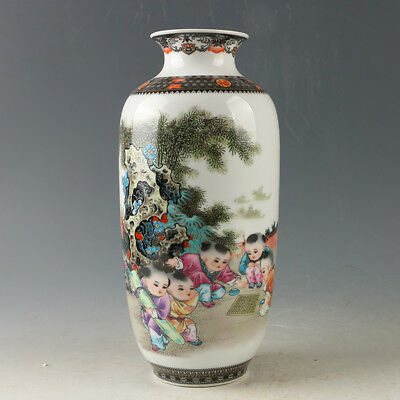 Chinese Porcelain Hand-painted Childrens Vase W Qianlong Mark R1167