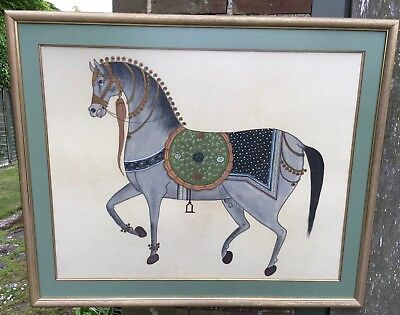 Hand Painted Horse on Silk - Framed - Anti-Glare Glass - Vintage 1970s