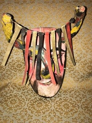 Mexican Carved Wooden Painted Folk Art Dance Horned Bannered Mask UNIQUE