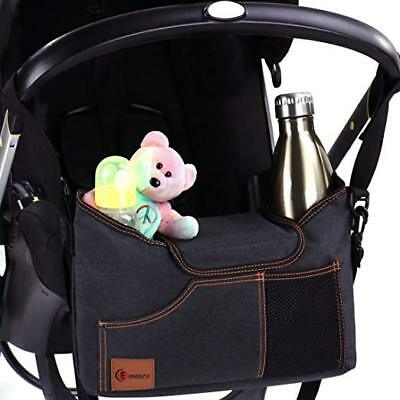 Universal Stroller Organizer Bag - with Double Two Drink Cup Holders for Smart M