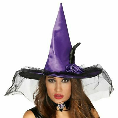 Flower /& Veil Black Satin Witches Hat With Feather Halloween Fancy Dress