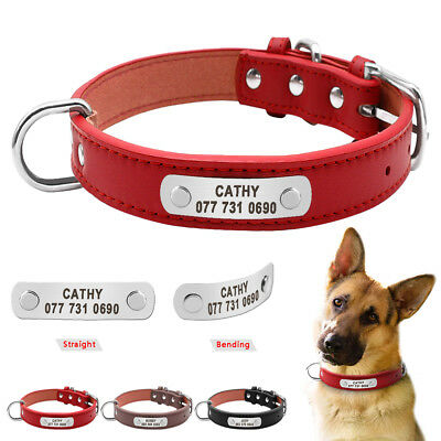 Leather Dog Collar Personalized Pet ID Collar Name Engraved for Small Large Dogs