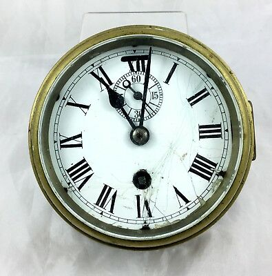 Antique Brass Ships Clock With Seconds Hand