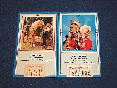 Vintage 1964 1965 Calendars Western Them Cowgirl With Horse Photos (Insy)