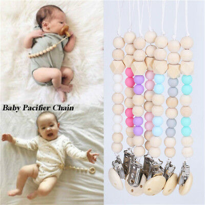 Infant Baby Wooden Beaded Pacifier Chain Holder Nipple Clip Teether Dummy Straps