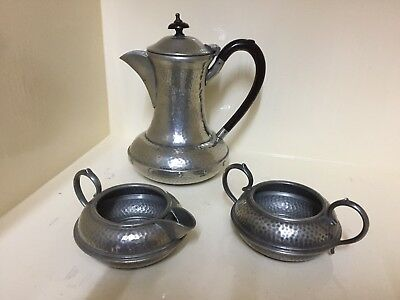 Vintage Pewter three Piece Set Tea Coffee Pot Sugar Bowl Milk Jug