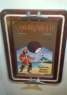 "Captain Morgan Coconut Rum Bar Mirror 16"" X 22"" Nautical Server Tray Wall Sign"