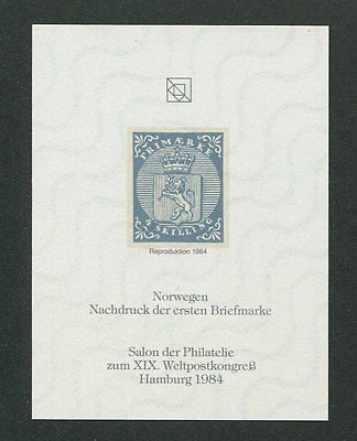 NORWAY No. 1 OFFICIAL REPRINT UPU CONGRESS 1984 MEMBERS ONLY!! RARE!! h1028