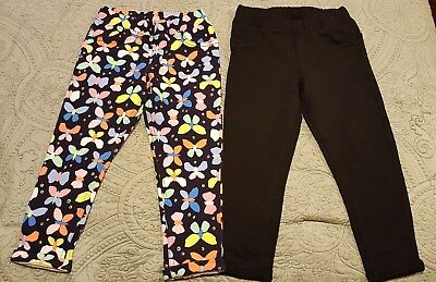 NWT 2 Girls size 6X Jeggings Jumping Beans Black, Blue Butterfly - R10