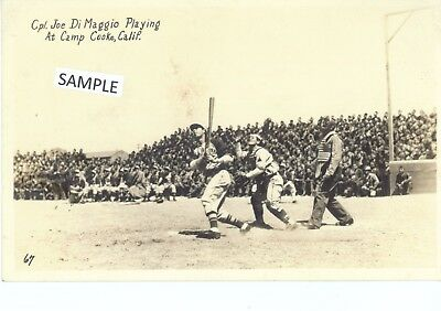 Very Rare Postcard Joe DiMaggio playing baseball in World War II Camp Cooke