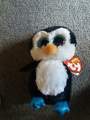 9044725097d Ty beanie Babies boo Waddles The Penguin. 6 inches. Birthday 11th May