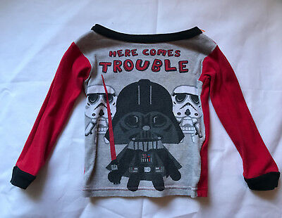 Toddler Star Wars shirt, Here Comes Trouble, Size 2T, Gray and Red, Darth Vadar