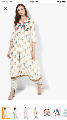 V Neck Yoke Embroidered Flared Kurta Along With Printed Crop Pants