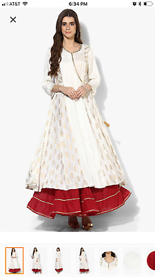 Round Neck Gota Detailed Printed Panelled Anarkali Along With Tier Sharara
