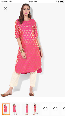 Henley Neck 3/4Th Sleeves High&Low Straight Kurta With Palazzo