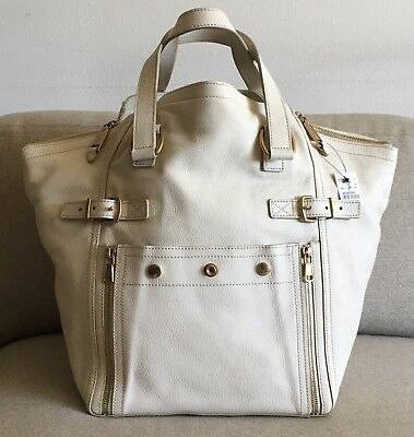 681ae029151 NWT YSL Yves Saint Laurent Ivory Med Downtown Leather Handbag Shoulder Bag  Tote