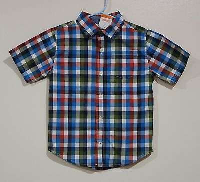 NWT Gymboree Boys Spring Blue Red Green Plaid Button Down Shirt Size 4T