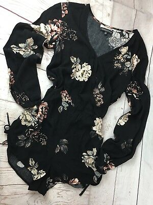 Kendall & Kylie Junior's Small Black Floral V-Neck Faux Wrap Long Sleeve Romper